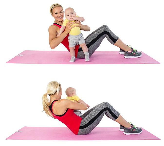 тренировка с бебе за коремна мускулатура